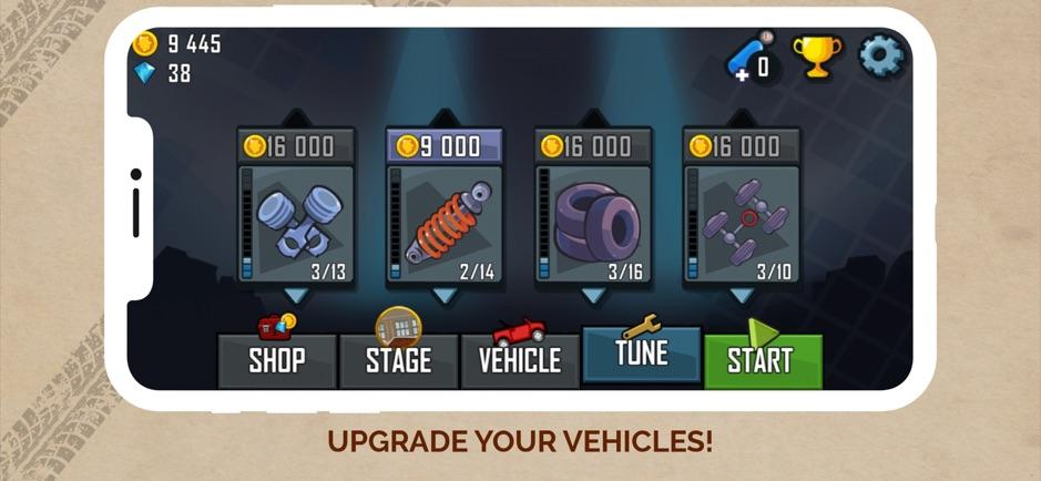 Модернизация автомобиля в игре на айфон Hill Climb