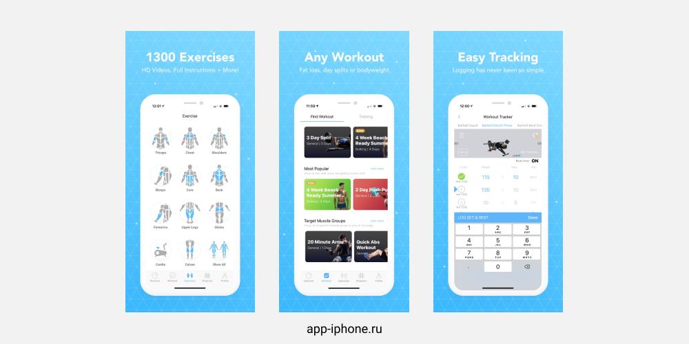 Приложение JEFIT Workout Planner Gym Log